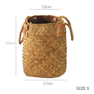 2 Pcs/Set Natural Seagrass Woven Flower Basket - Olyssia™ Online