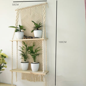 Macrame Hanging Planter Wall Shelf - Olyssia™ Online