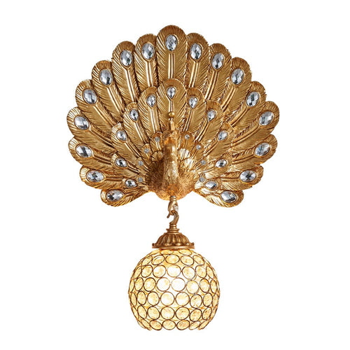 Golden Peacock Wall Lamp - Olyssia™ Online