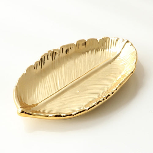 Olyssia Decorative Gold Leaf Ceramic Jewellery Tray - Olyssia™ Online