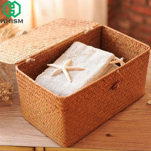 Rattan Woven Storage Basket with Lid - Olyssia™ Online