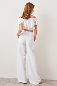 Rosalie High Waisted Buttoned Wide Leg Pants - Olyssia™ Online