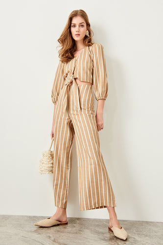 Remi High Waisted Stripe Wide Leg Pants - Olyssia™ Online