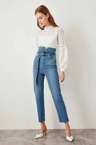 Claire High Waisted Tie Jeans - Olyssia™ Online
