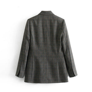 Femme Checked Double Breasted Blazer - Olyssia™ Online