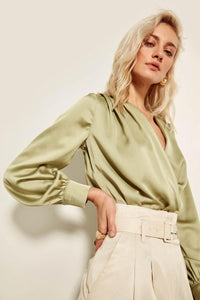 Billie Satin Crossover Blouse - Olyssia™ Online
