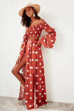 Load image into Gallery viewer, Bella Vista Side Slit Polka Dot Maxi Skirt - Olyssia™ Online