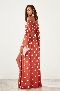 Bella Vista Side Slit Polka Dot Maxi Skirt - Olyssia™ Online