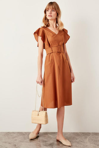 Ellie Frill Sleeve Belted Dress - Olyssia™ Online