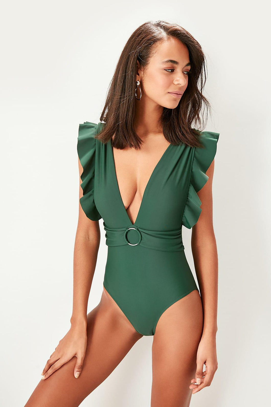 Vanessa Frill Sleeve One Piece Swimsuit/Bodysuit (green) - Olyssia™ Online