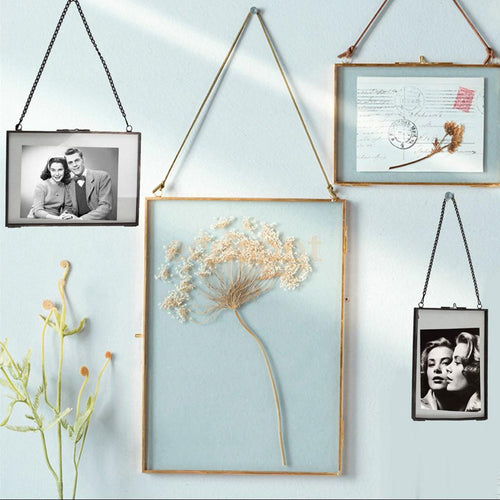 Industrial Style Double Sided Glass Hanging Photo Frame (Black) - Olyssia™ Online