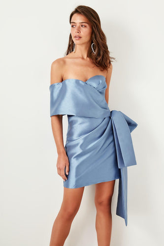 Kylie One Shoulder Satin Wrap Evening Dress - Olyssia™ Online