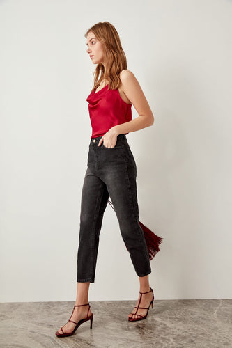 Mona High Waist Back Split Mom Jeans - Olyssia™ Online