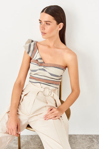 Zariah One Shoulder Frill Top - Olyssia™ Online