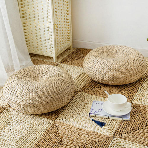 Handmade Woven Tatami Natural Straw Round Cushions - Olyssia™ Online