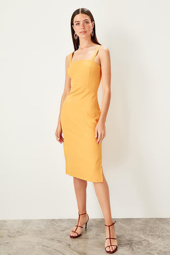 Martina Mustard Pencil Dress - Olyssia™ Online