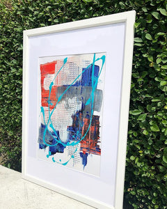 """Catching Breath"" - Framed Red and Blue Abstract Print"