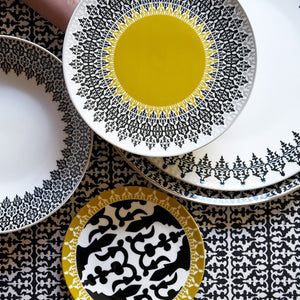 Middle Eastern geometric pattern black and white 13 Piece Dinnerware Set Porcelain Plate Dining The Habibti Collective