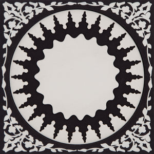 Geometric pattern Middle Eastern black and white Bottle Holder Coaster PVC  Dining The Habibti Collective
