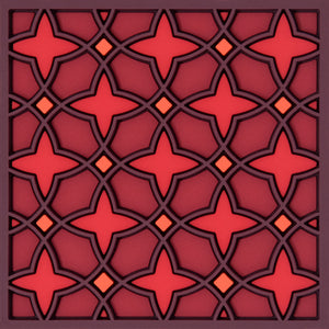 Geometric pattern Middle Eastern red  Coaster PVC  Dining The Habibti Collective