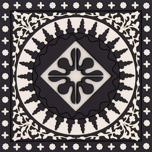 Geometric pattern Middle Eastern black and white Coaster PVC  Dining The Habibti Collective
