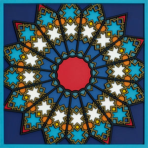 Geometric pattern Middle Eastern blue Coaster PVC  Dining The Habibti Collective
