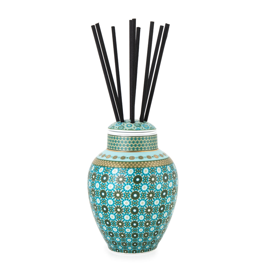 Geometric Pattern Middle Eastern Design Green Porcelain Fragrance Diffuser Vase The Habibti Collective