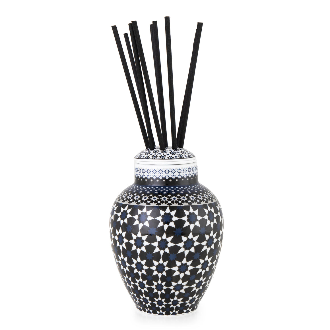 Geometric Pattern Middle Eastern Design black and white porcelain Fragrance Diffuser Vase The Habibti Collective