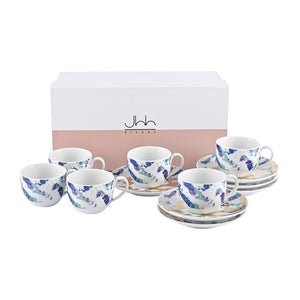 Fairuz 22-Karat Gold | Set of 6 Porcelain Espresso Cups and Saucers