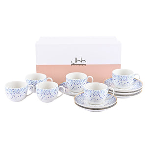 Mirrors | Set of 6 Porcelain Espresso Cups and Saucers