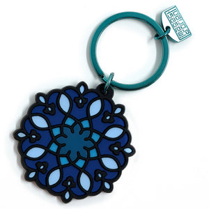 geometric pattern blue pvc key ring middle eastern the habibti collective