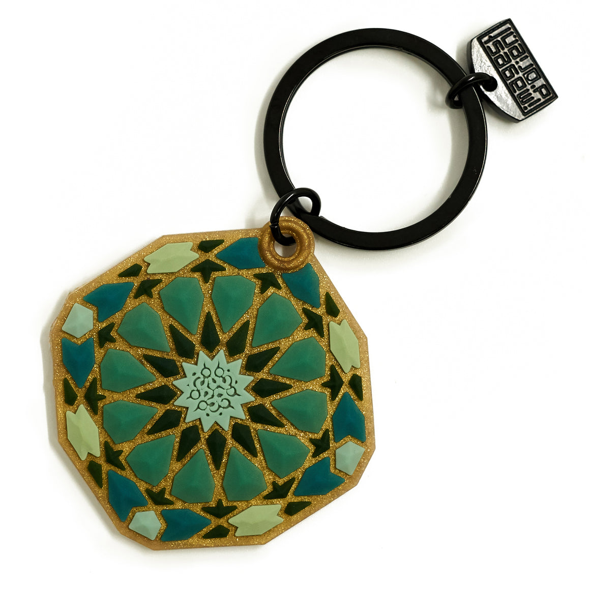 Geometric Pattern Middle Eastern Design Green PVC Key Ring  The Habibti Collective