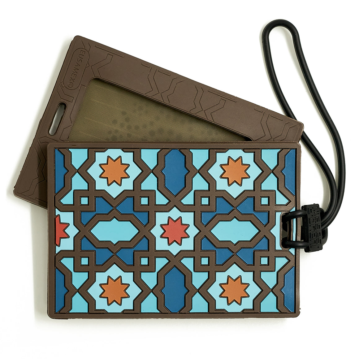 Geometric pattern Middle Eastern luggage tag blue PVC   The Habibti Collective