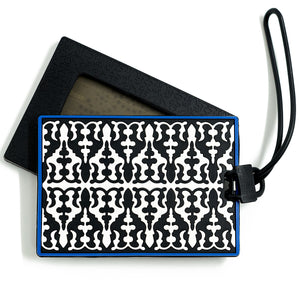 geometric pattern black and white pvc luggage tag middle eastern the habibti collective