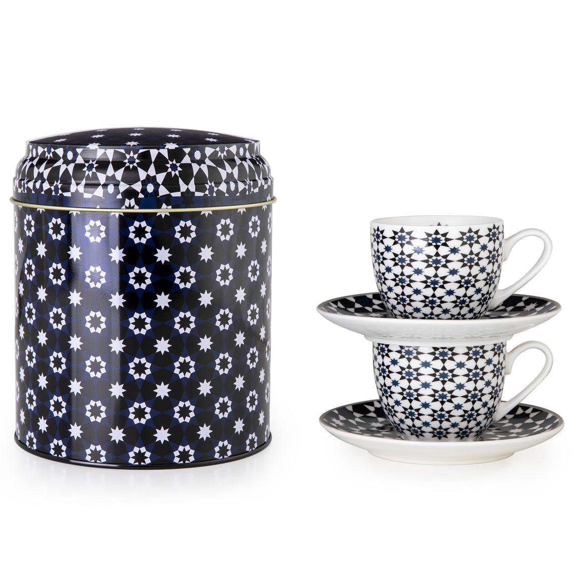 Geometric Middle Eastern black and white tin porcelain espresso cup tea The Habibti Collective