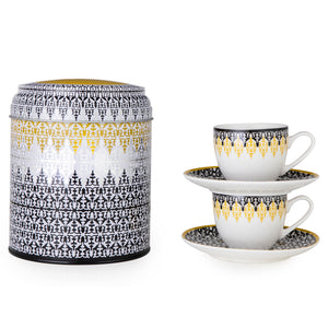 Geometric pattern Middle Eastern black and white tin porcelain espresso cup tea The Habibti Collective