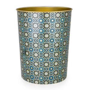 Geometric Pattern Middle Eastern Design Green tin waste bin basket trash The Habibti Collective