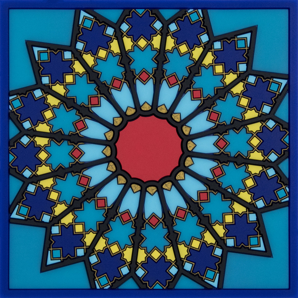 geometric pattern middle eastern blue trivet pvc the habibti collective