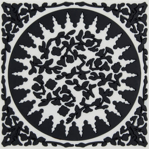 Geometric pattern Middle Eastern black and white trivet PVC  Dining The Habibti Collective