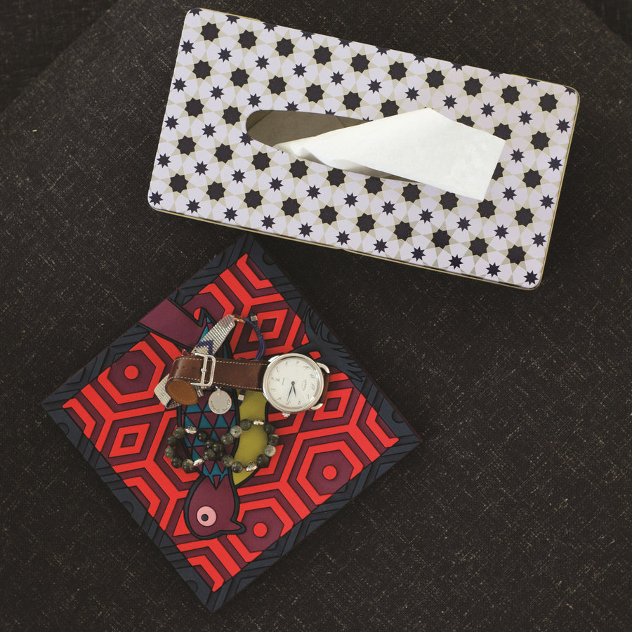 Geometric Middle Eastern black and white Tin Decorative Tissue Box The Habibti Collective