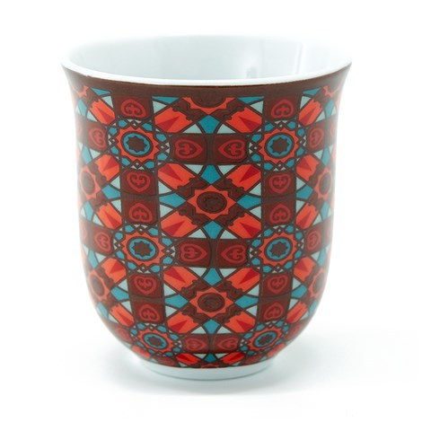 Geometric Middle Eastern red tin porcelain espresso cup tea The Habibti Collective