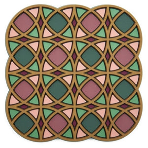 geometric pattern middle eastern green coaster pvc dining the habibti collective