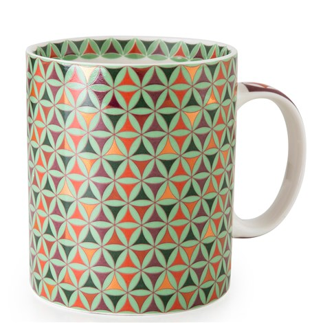 Geometric Middle Eastern green pink tin porcelain coffee mug bowl The Habibti Collective
