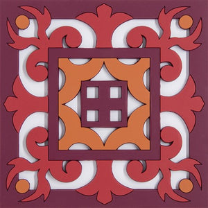 Geometric pattern Middle Eastern red trivet PVC  Dining The Habibti Collective