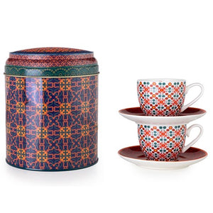 Geometric pattern Middle Eastern red tin porcelain espresso cup tea The Habibti Collective