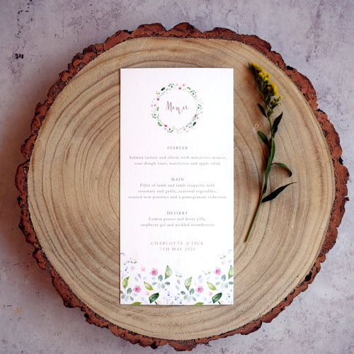 'Confetti' personalised wedding menu cards