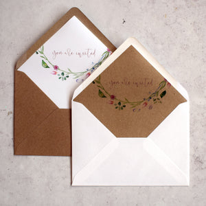 Envelope liners for rustic wedding invites