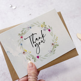 'Flower Press' Thank you Postcards