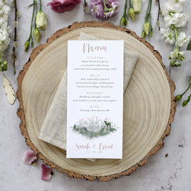 'Fairytale Blossom' personalised wedding menu cards