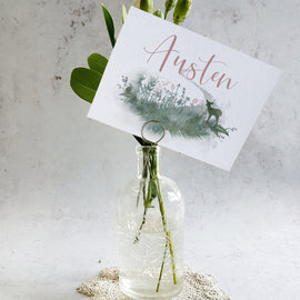 'Fairytale Blossom' rustic wedding table name cards